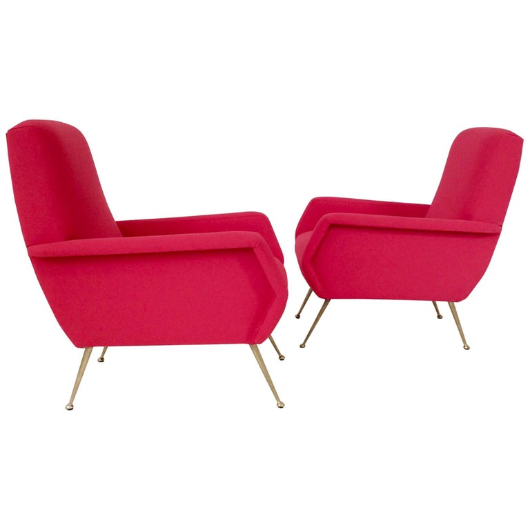 Gidi Radice Pair of Luminous Red Armchairs, circa 1950, Italy For Sale