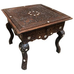 Small Syrian Inlaid Table with Drawer
