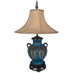 Englische Majolika Urne aus dem 19. Jahrhundert, jetzt als Lampe