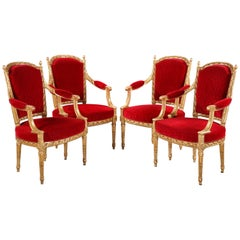 Set of Four Louis XVI Style Armchairs by A. Levraux