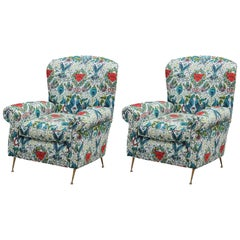 Pair of Modern Whimsical Animalia Italian Lounge Chairs with Brass Legs
