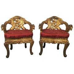 Pair of Hand Carved Gilt Japanese Chairs with Silk Cushions