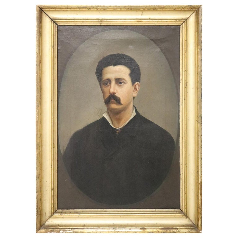 19th Century Italian Oil Painting on Canvas Portrait of a Gentleman with Frame For Sale