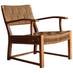 Frits Schlegel 'Attributed', Modernist Lounge Chair, Beech, Cord, Denmark, 1940s
