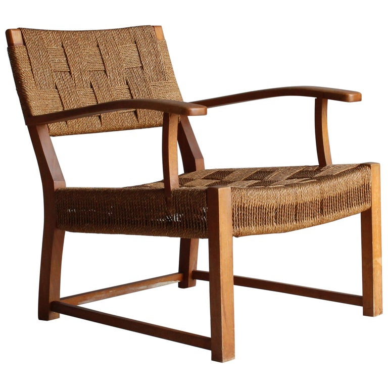 Frits Schlegel 'Attributed', Modernist Lounge Chair, Beech, Cord, Denmark, 1940s For Sale