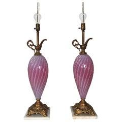 Pair of Murano Glass Ewer Lamps