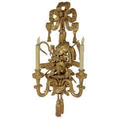 Pair of French Louis XV-Style Giltwood Two-Branch Sconces