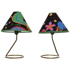 Mid-Century Modern Brass Vintage Table Lamps by Kalmar Josef Frank Fabric, 1950s
