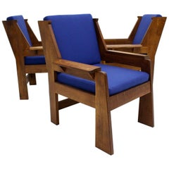 Art Deco Czech Cubism Oak Wood Blue Fabric Vintage Armchairs Lounge Chairs 1920s