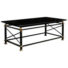 French Parisian Coffee Table with Black Marble Top, Iron Base and Brass Accents