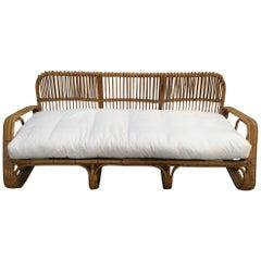 Mid-Century Modern Italian Three-Seat Bamboo Sofa, 1960s