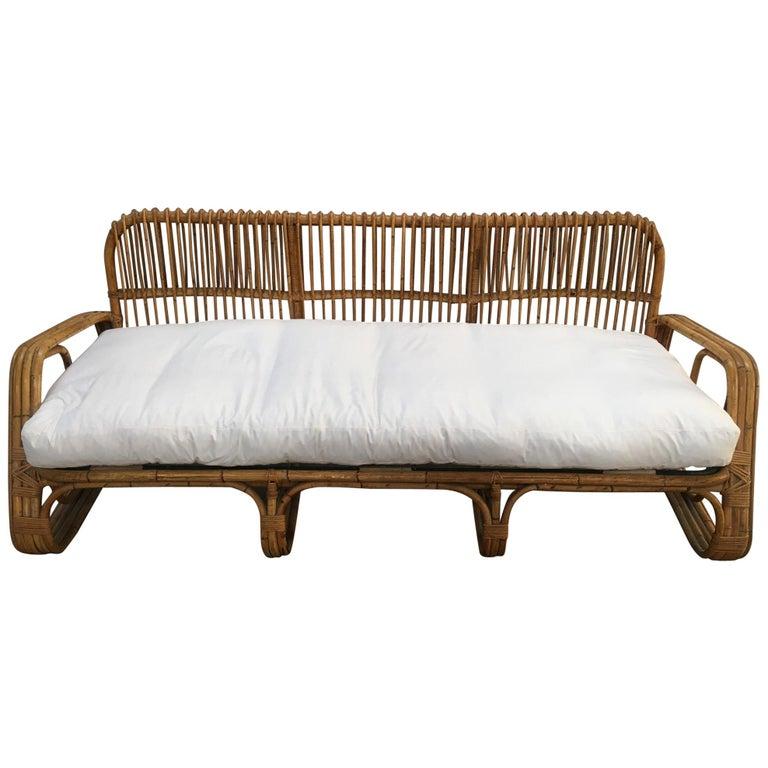 Mid-Century Modern Italian Three-Seat Bamboo Sofa, 1960s 1