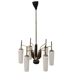 Stilnovo Attributed Enamel and Brass Italian Design Chandelier, 1960s