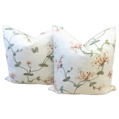 Throw Pillows with Flower Embroidery