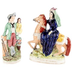 Two Antique Staffordshire Glazed and Painted Earthenware Figures