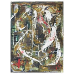 Mildred Hurwitz, Abstract Composition, Oil on Canvas Painting, circa 1950s