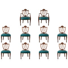 Set of Ten Shield Back Dining Chairs