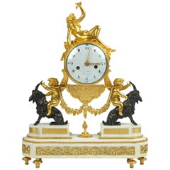 Louis XVI Ormolu and White Marble Mantel Clock by Maniere