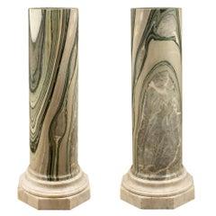 Pair of Italian 19th Century Neoclassical Style Cipollino Grecia Marble Columns