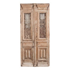 Tall Pair of Napoleon III-Style Painted Pine and Wrought-Iron Entrance Doors