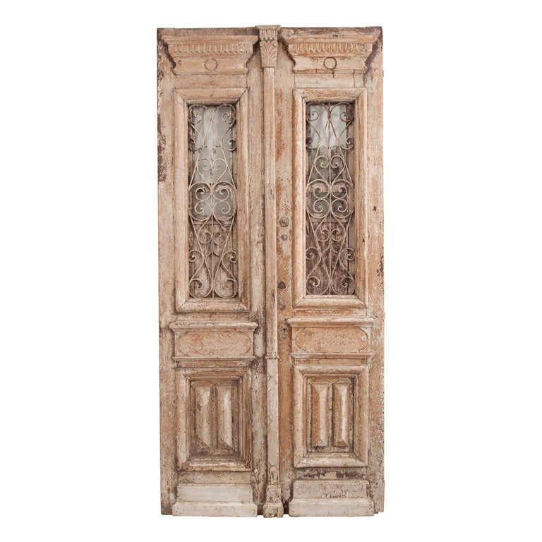 Tall Pair of Napoleon III-Style Painted Pine and Wrought-Iron Entrance Doors For Sale