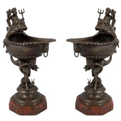 Pair of French Mid-19th Century Renaissance Style Bronze and Marble Ewers