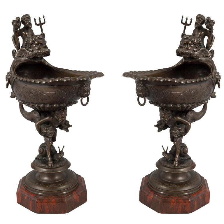 Pair of French Mid-19th Century Renaissance Style Bronze and Marble Ewers For Sale