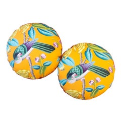 Round Circular Pillows with Vibrant Colors and Bird
