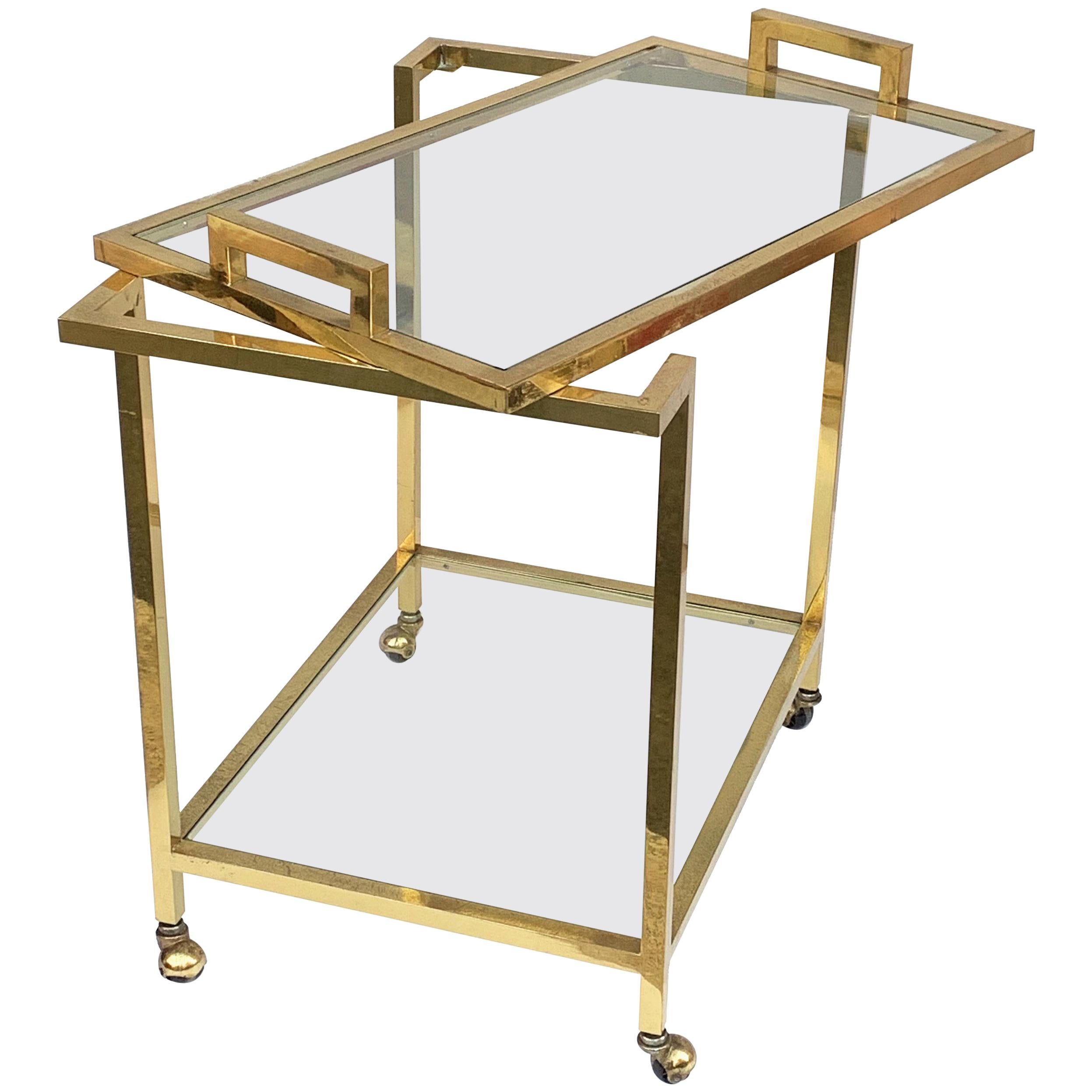 Romeo Rega style Trolley with Service Tray, Gilded Brass and Glass, Italy, 1980s