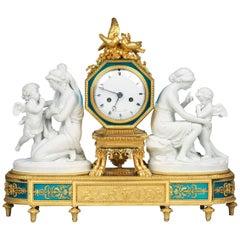 Louis XVI Ormolu and Biscuit Porcelain Mantel Clock by Manière
