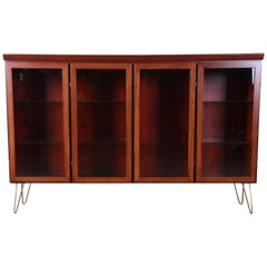 Skovby Danish Modern Rosewood Glass Front Bookcase on Hairpin Legs