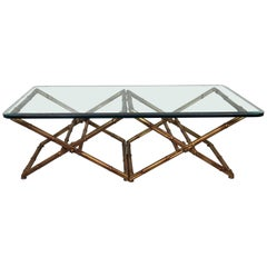 Glass and Gilt Metal Faux Bamboo Cocktail Table