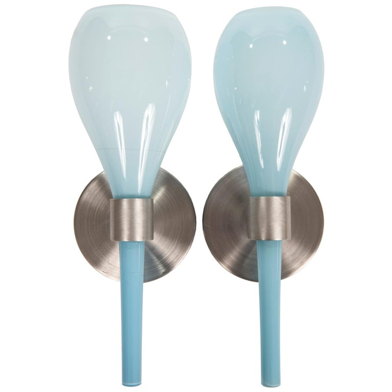 Wall Sconces Nyc: Pair Of Pale Blue Wall Sconces By J. Good Design, NYC At