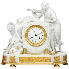 Late 18th Century Paris Biscuit Porcelain Clock by Piolaine