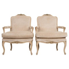 Pair of French 19th Century Louis XV Style Crème Peinte Fauteuils