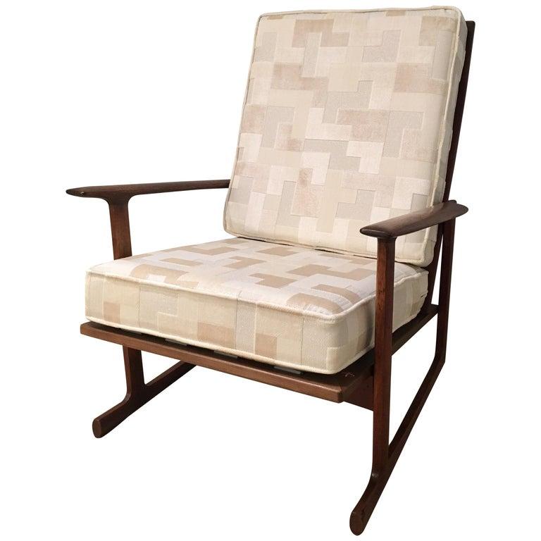 Kofod Larsen High Back Lounge Chair Danish, 1960s For Sale