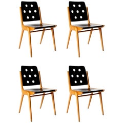 Set of Four Stacking Chairs Franz Schuster, Bicolored Beech Black, Austria, 1959