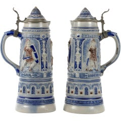 Pair of 19th Century German Beer Stein