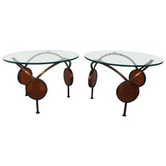 1960s Iron and Glass Round Bunching Drinks Tables