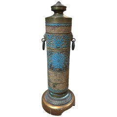 Brass Carved Lamp with Turquoise Accent