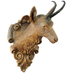Large Black Forest Carved Chamois Head by Madl & Son, circa 1890