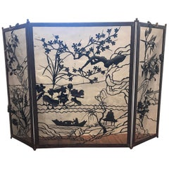 Japanese Iron Works Fire Screen
