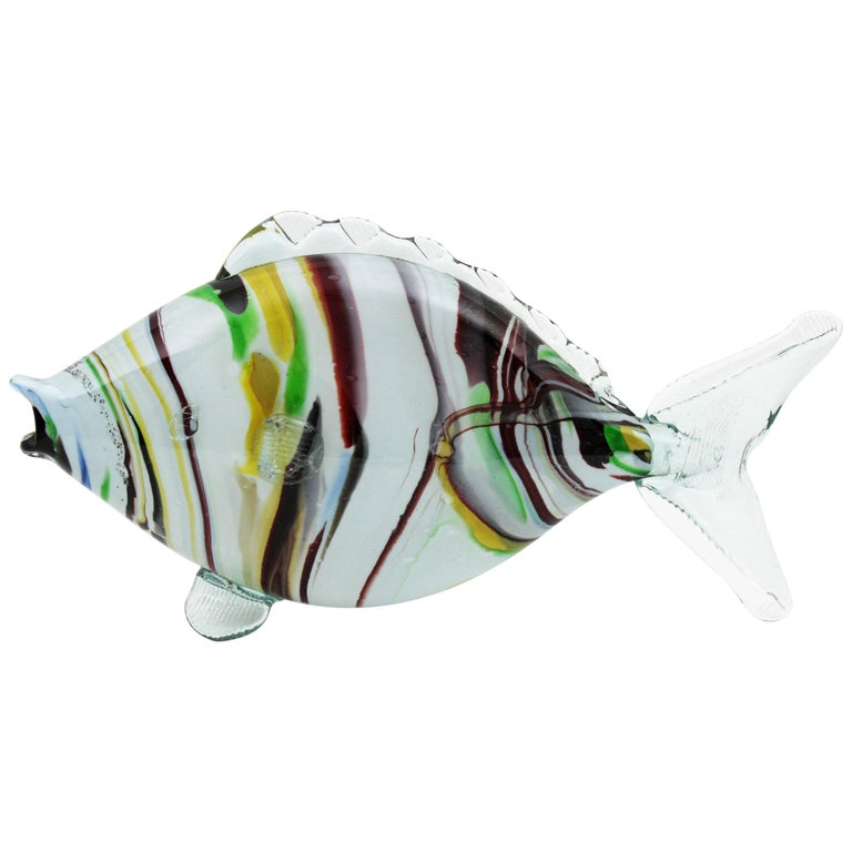 Midcentury Multi-Color Stripped Medium Scale Murano Blown Glass Fish Sculpture For Sale