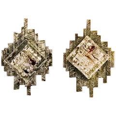 Pair of Brutalist Murano Sconces / Flush Mounts