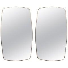 Pair of Vintage Italian Design Brass Mirrors