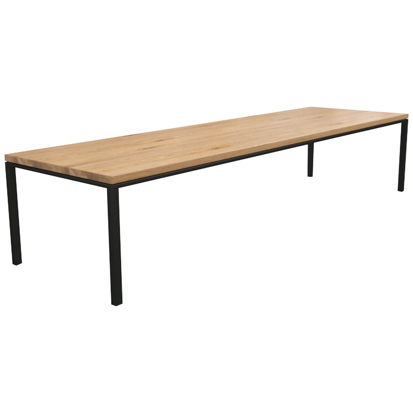 """Custom """"Workshop"""" Conference Table with a Solid Wood Top and Metal Base"""