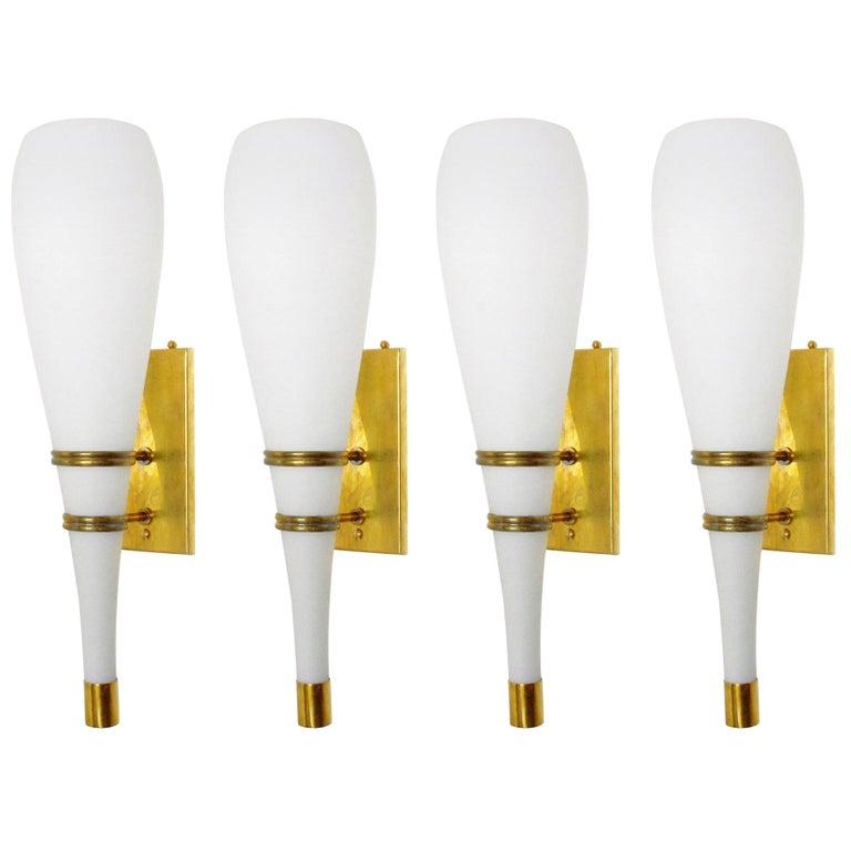 Set of Four Stilnovo Torch Sconces For Sale