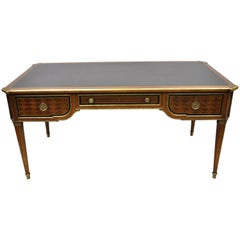French Louis XVI Black Leather Top Bureau Plat Desk by Simon Loscertales Bona