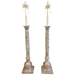 20th Century Pair of Silver Giltwood Column Floor Lamps