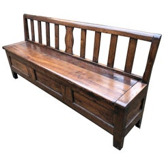 19th Century Large French Farmhouse Chestnut Bench